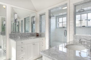 DDBuild-A English white and gray marble custom master bath remodel