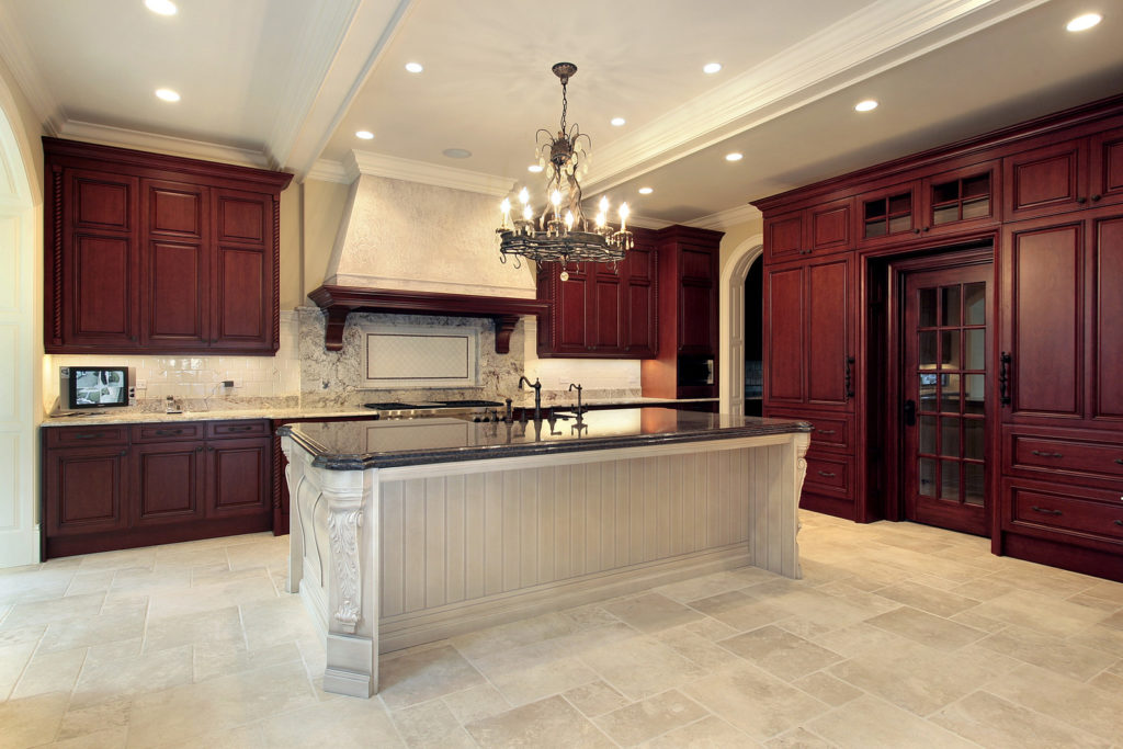 DDBuild-A new wine color mahogany custom kitchen with a large kitchen island